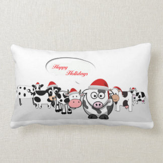 Christmas Cute Cows Happy Holidays Lumbar Cushion
