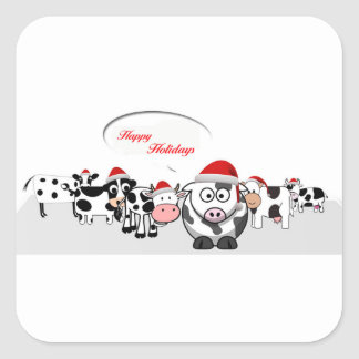 Christmas Cute Cows Happy Holidays Square Sticker