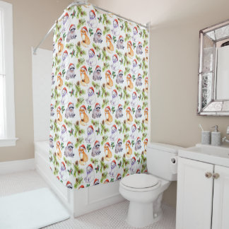 Christmas | Cute Forest Animals Pattern Shower Curtain