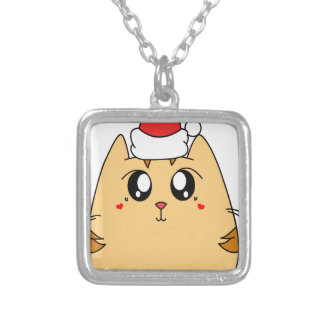 Christmas Cute Kitty Cat Silver Plated Necklace