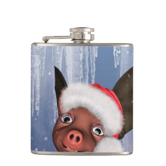 Christmas, cute little piglet hip flask