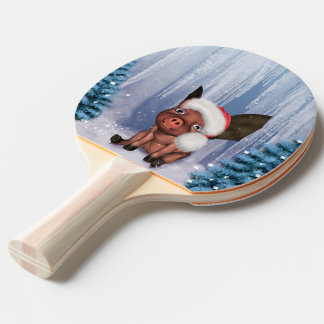 Christmas, cute little piglet ping pong paddle