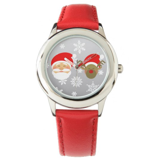 Christmas Cute Santa Reindeer Face Happy Smile Red Wrist Watches