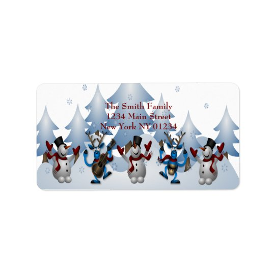 Christmas Cute Snowman and Reindeer Band Label
