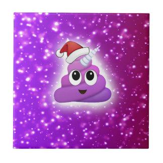 Christmas Cute Unicorn Poop Emoji Glow Ceramic Tile