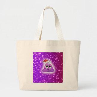 Christmas Cute Unicorn Poop Emoji Glow Large Tote Bag