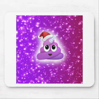 Christmas Cute Unicorn Poop Emoji Glow Mouse Pad