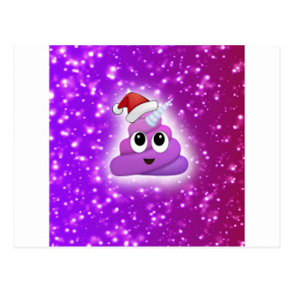 Christmas Cute Unicorn Poop Emoji Glow Postcard