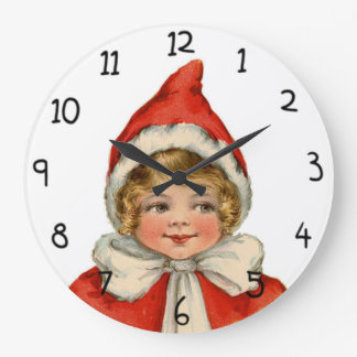 Christmas Cute Vintage Elf Girl Wall Clocks