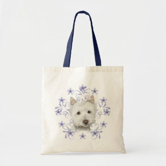 Christmas Cute Westie Dog Art and Snow flake Budget Tote Bag