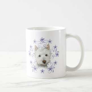 Christmas Cute Westie Dog Art and Snow flake stars Mug