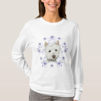 Christmas Cute Westie Dog Art and Snow flake stars T-Shirt