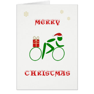 Christmas cyclist bringing gift card