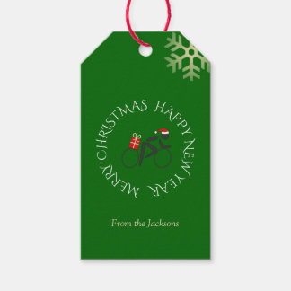 Christmas cyclist custom text green gift tags