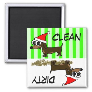 Christmas Dachshund Clean Dirty Dishwasher Magnet