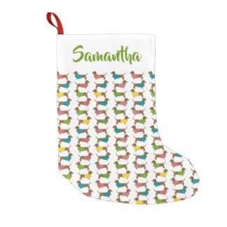 Christmas Dachshund Dog Pattern Personalised Small Christmas Stocking
