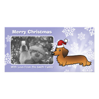Christmas Dachshund (longhair) Customised Photo Card