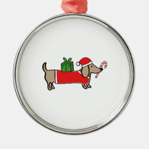 christmas dachshund metal ornament