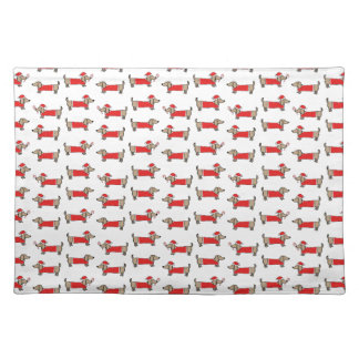 Christmas dachshund pattern placemat