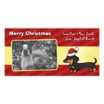 Christmas Dachshund (smooth coat) Customised Photo Card