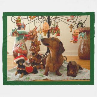 Christmas Dachshund (Version 2) Fleece Blanket