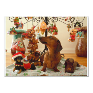 Christmas Dachshund (Version 2) Personalized Announcement