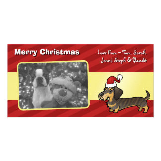 Christmas Dachshund (wirehair) Picture Card