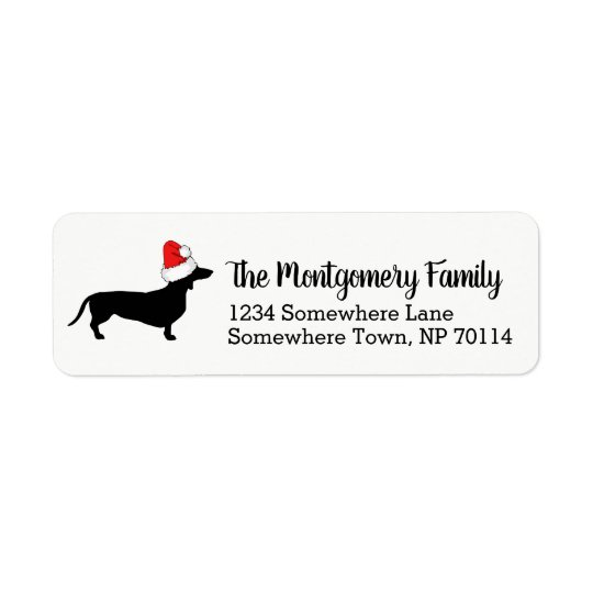Christmas Dachshund with Santa Hat & Family Name Return Address Label