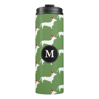 Christmas Dachshunds & Santa Hats with Initial Thermal Tumbler
