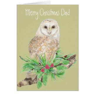 Christmas Dad Barn Owl Greeting Card