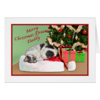 Christmas, Daddy, Sleeping Cat, Santa Hat Card