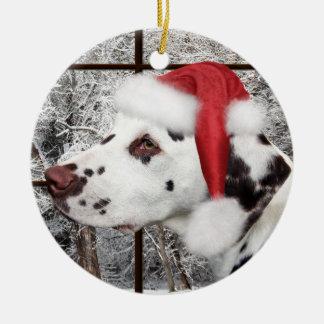Christmas dalmatian ceramic ornament