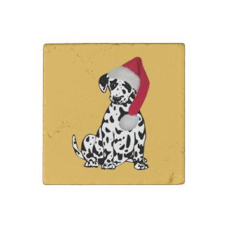 Christmas Dalmatian Gold Stone Magnet