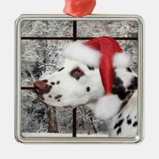 Christmas dalmatian metal ornament