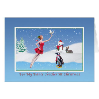 Christmas, Dance Teacher, Ballerina, Winter, Snow Greeting Card