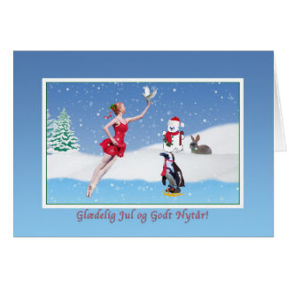 Christmas, Danish,  Glædelig Jul, Ballerina, Snow Card