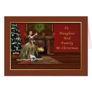 Christmas, Daughter and Family Old Fashioned Card