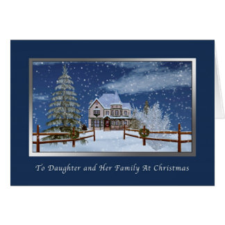 Christmas, Daughter and Family, Snowy Winter Scene Greeting Card