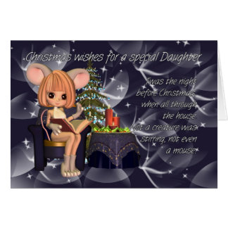 Christmas Daughter, night before Christmas mouse Greeting Card