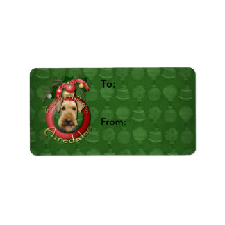 Christmas - Deck the Halls - Airedales Address Label