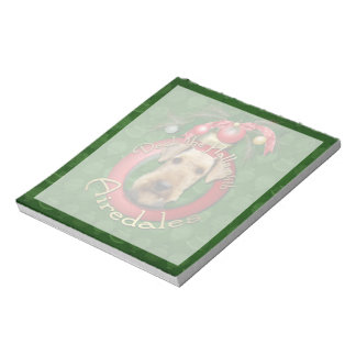 Christmas - Deck the Halls - Airedales Memo Notepad