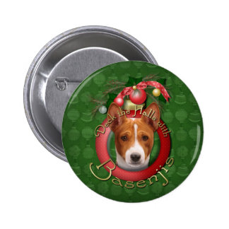 Christmas - Deck the Halls - Basenjis Button