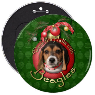 Christmas - Deck the Halls - Beagles Pinback Buttons