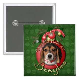 Christmas - Deck the Halls - Beagles Button