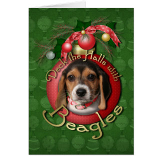 Christmas - Deck the Halls - Beagles Greeting Cards