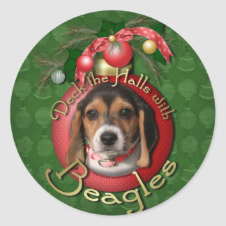 Christmas - Deck the Halls - Beagles Round Stickers
