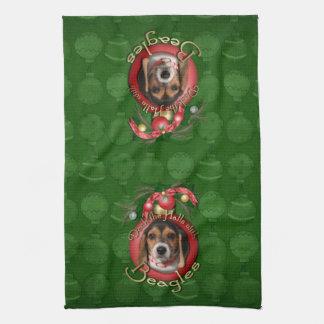 Christmas - Deck the Halls - Beagles Kitchen Towel