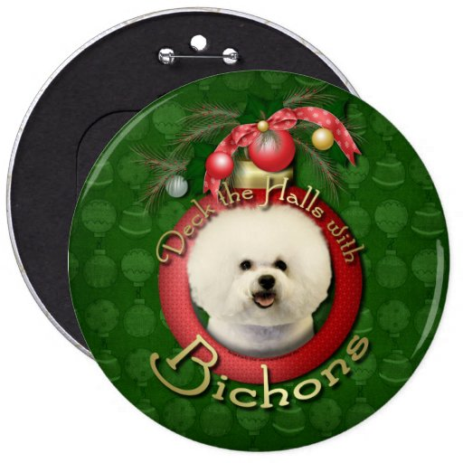 Christmas - Deck the Halls - Bichons Button