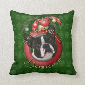 Christmas - Deck the Halls - Bostons Throw Pillow