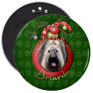 Christmas - Deck the Halls - Briard Pinback Button
